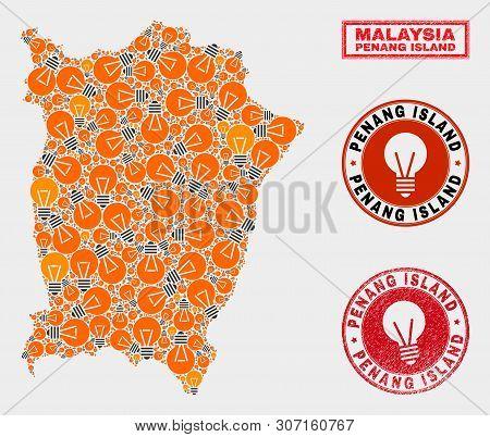 Light Bulb Mosaic Penang Island Map And Grunge Rounded Stamp Seals. Mosaic Vector Penang Island Map