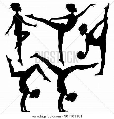 Set Of Woman Silhouette Practicing Yoga Stretching Fitness, Rhytmic Gymnastic Isolated On White Back