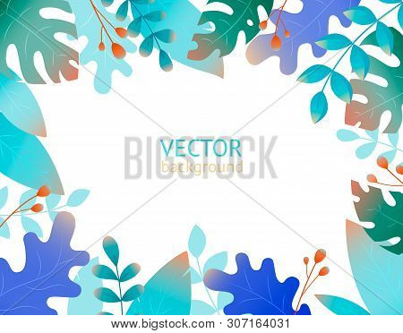 Vector Background With Copy Space For Text - Fantasy Plants And Leaves.