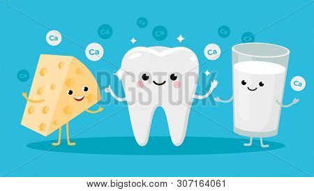 Happy Healthy Tooth And High Calcium Products Cartoon Characters Friends Together. Vector Illustrati