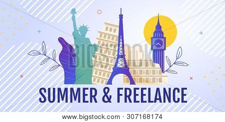 Banner Advertising Working Remotely While World Travelling Or During Business Trip. Summer On-the-jo