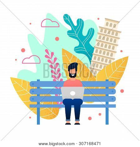 Happy Bearded Man Sitting On Bench In City Park And Working On Laptop. Cartoon Freelancer Character