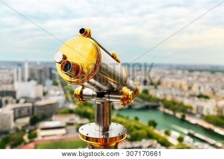 Vintage Coin Operated Telescope Overlooking For Paris From Top Of Eiffel Tower. Monocular At Observa