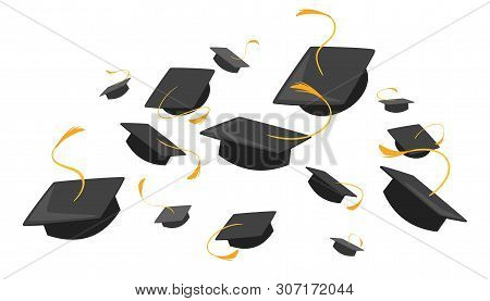 University Mortarboards Throwing Tradition Flat Illustration. College, School Graduation Ceremony. A