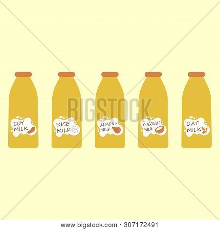 Vector Illustration Set Of Vegan Milk, Different Vegetarian Or Plant Based Milk, Coconut, Soya Bean