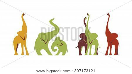 Elephants Set Art Style. Collection Colored African Elephants Isolated On White Background. Lovely C