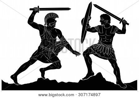 Two Mythological Heroes, Achilles And Hector, Fight With Swords. Vector Image Isolated On White Back