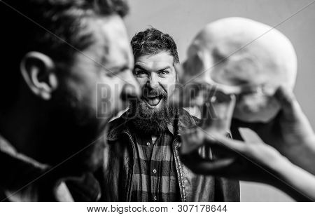 Human Fears And Courage. Looking Deep Into Eyes Of Your Fear. Man Brutal Bearded Hipster Looking At