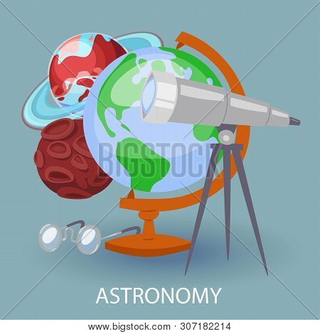 Educational Astronomy Banner With Earth Globe, Telescope, Googles And Planets. Design For Posters In