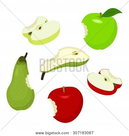 Apple And Pear. Set Of Red, Green, Half, Sliced, Apples And Pear. Raster Illustration On White Backg