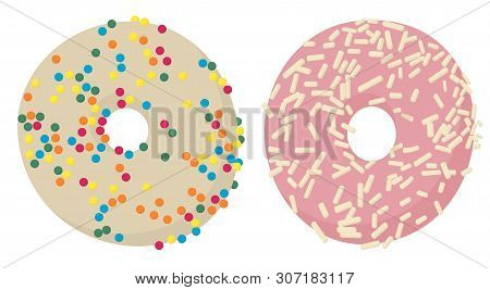Donuts Top View. Glazed Donuts Or Doughnuts Set, Various Colors And Tastes. Raster Illustration On W