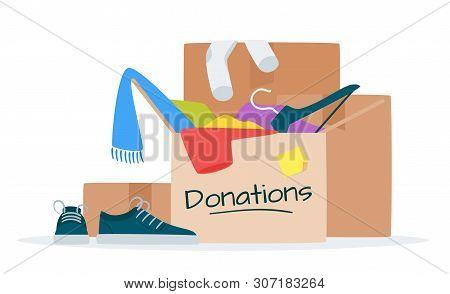Clothes For Donation Flat Vector Illustration. Garage Sale, Flea Market, Thrift Shop Goods.  Second