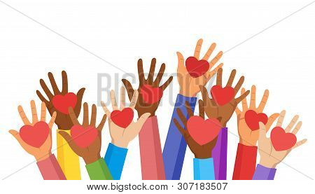 Voluntary And Donation Flat Vector Illustration. Volunteers, Social Workers Holding Hearts In Palms.