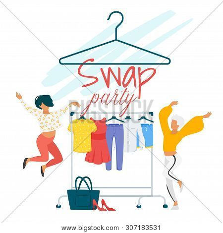 Swap Party Flat Vector Poster Template. Girlfriends, Best Friends Exchanging Clothes. Female Student