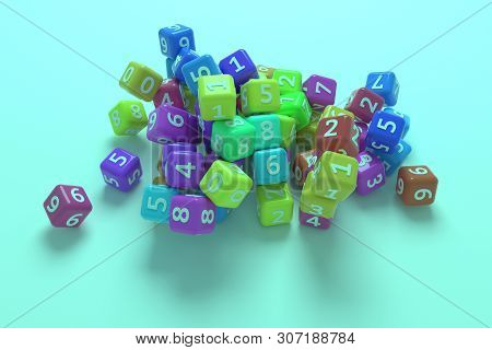 Bunch Of Number Character Symbol Or Sign. For Graphic Design Or Background, Cgi Geometric. 3D Render