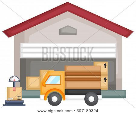 A Vector Of A Warehouse Full Of Package With A Truck And Scale