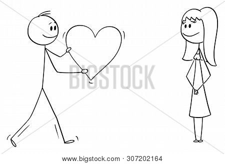 Cartoon Stick Figure Drawing Conceptual Illustration Of Man Or Boy Giving Bog Romantic Heart To Girl