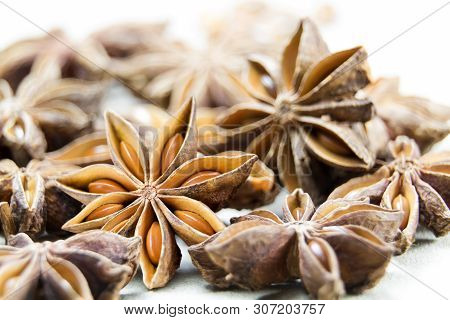 Chinese Star Anise Spice Fruits And Seeds For Ingredient Cooking Makes Food Fine Fragrance And Essen