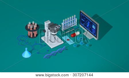 Biology, Genetics, Chemistry Concept Animation. New Technologies, Isometric View (3d Render)