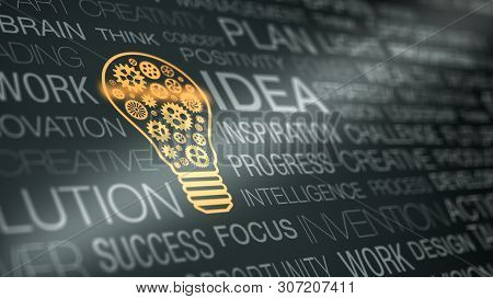 Wall Of Text With Keywords About The Idea And Solution Concepts, Gold Coloured Light Bulb With Gears