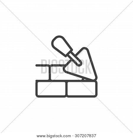 Trowel And Brick Wall Line Icon. Brickwork Linear Style Sign For Mobile Concept And Web Design. Maso