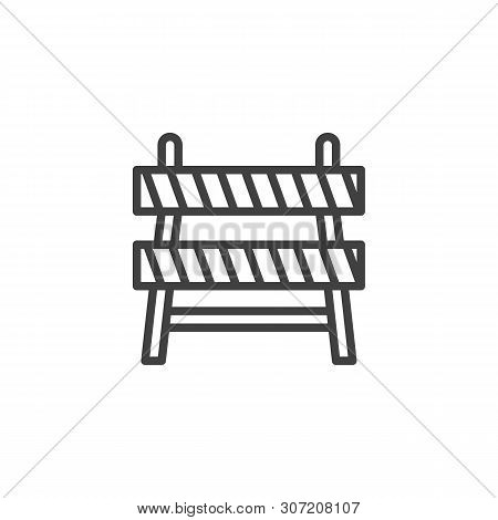 Construction Barrier Line Icon. Barricade Linear Style Sign For Mobile Concept And Web Design. Safet