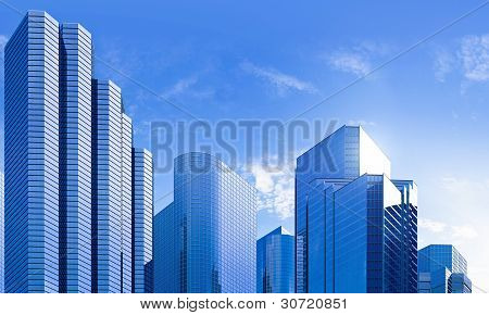 Blue Highrise Glass Skyscraper Skyline