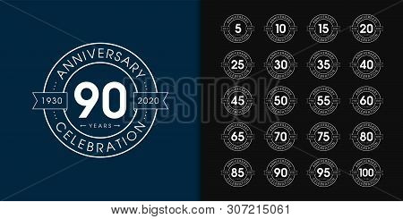 Set Of Anniversary Logotype. Premium Anniversary Celebration Emblem Design For Company Profile, Book