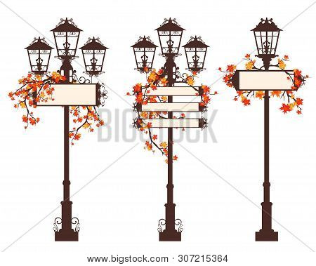 Set Of Streetlights With Blank Information Banners Decorated With Bright Autumn Maple Branches - Fal
