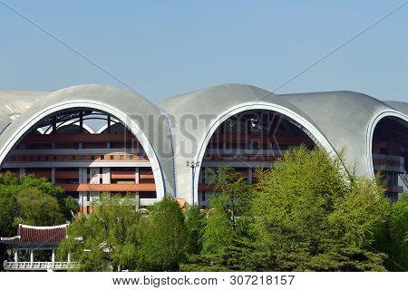 Pyongyang, North Korea - May 1, 2019: A View Of The Building Of The Rungrado 1st Of May Stadium, Als