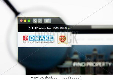 New York, New York State, Usa - 19 June 2019: Illustrative Editorial Of Omaxe Website Homepage. Omax