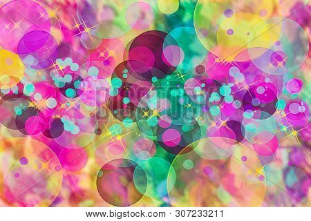 Abstract Multicolored Defocused Bokeh Pattern Background. Blurred Wallpaper.