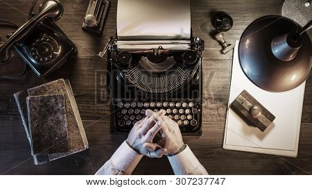 Journalist Working In His Vintage Office At Night