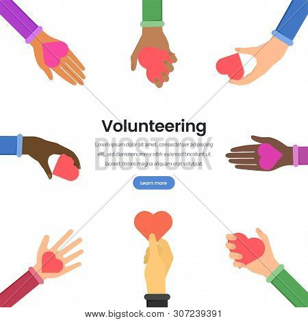 International Volunteering Flat Vector Webpage Template. Multinational Support In Humanitarian Aid L