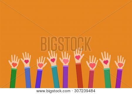 Community Charitable Work Symbol Flat Illustration. Cartoon Hands Holding Hearts On Orange Backgroun
