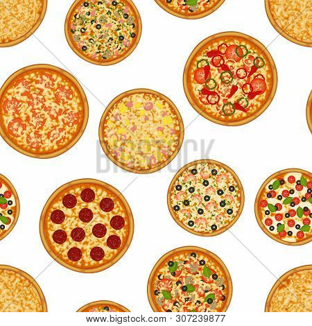Seamless Pattern Pizza On White Background. Pizza Menu. For Packaging, Advertisements, Menu. Vector