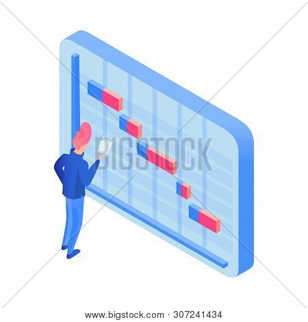 Manager Planning Deadlines Isometric Illustration. Time Management Specialist, Male Expert Schedulin