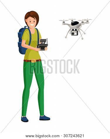 Drone Pilot Job Flat Vector Illustration. Woman, Uav Operator Playing With Copter, Quadrotor Cartoon