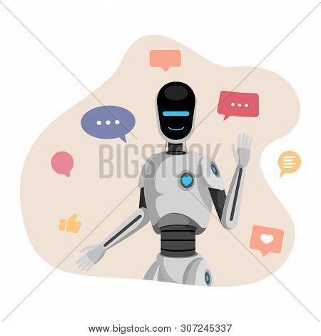 Humanoid Robot, Chatbot Flat Vector Illustration. Artificial Intelligence, Friendly Cyborg Waving Ha