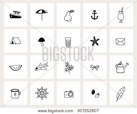 Set Of Hand Drawn Doodle Web Icons. Line Art. Summer, Holiday, Travel Concept. Black And White Desig