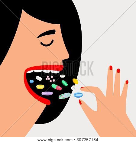 Woman Swallow Pills. Female Head And Face With Medicines Drugs, People Overdose, Girl Taking Pill Ta