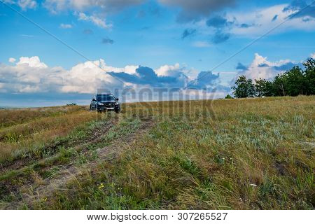 Rostov-on-don, Russia - June 21, 2017: Crossover Parked In The Coutry On Steppe Road In Summer