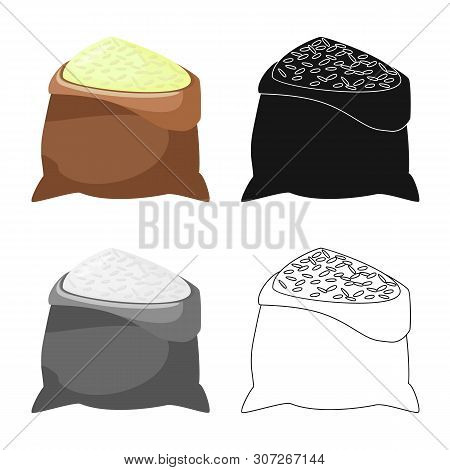 Vector Illustration Of Bag And Rice Logo. Collection Of Bag And Wholesale Vector Icon For Stock.