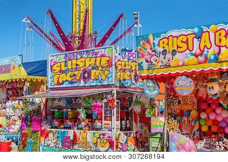 Mackay, Queensland, Australia - June 2019: Sideshow Alley With Game And Food Stalls At Mackay Annual