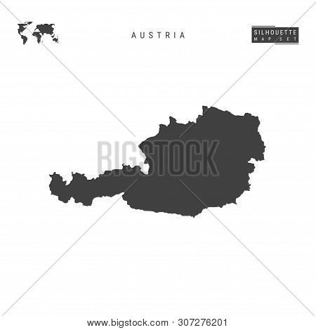 Austria Blank Vector Map Isolated On White Background. High-detailed Black Silhouette Map Of Austria