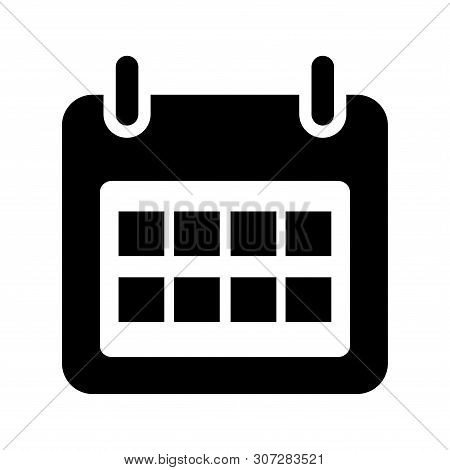 Calendar Icon Isolated Black On White Background, Calendar Icon Vector Flat Modern, Calendar Icon, C