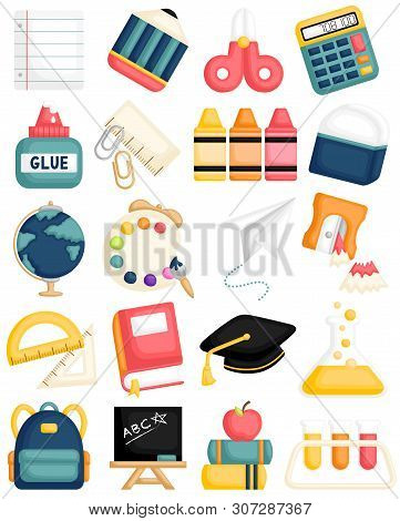 A Cartoon Vector Set Of Cute Back To School Supplies For Kids Learning