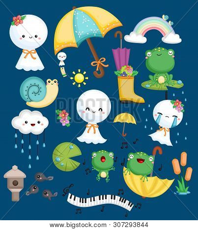A Vector Collection Of Weather Dolls, Frog, And Snail In A Weather Theme
