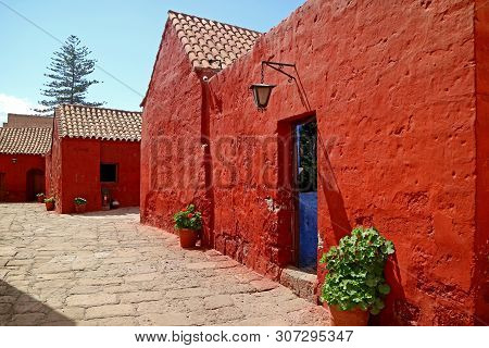 Red Colored Historic Buildings In The Monastery Of Santa Catalina, Arequipa, Peru, South America