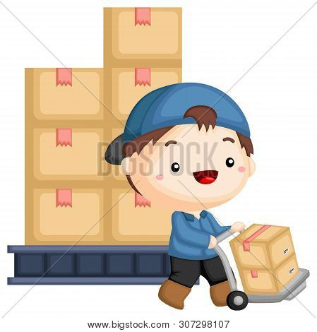 A Vector Of A Working Managing A Pile Of Package